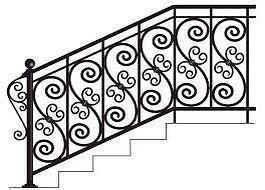 Кованная лестница со второго этажа
